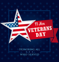 Veterans day usa honoring all who served banner vector