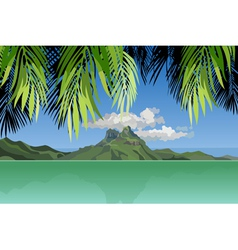 view of the island in the ocean through the palm vector image