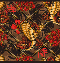 vintage japanese colorful seamless pattern vector image