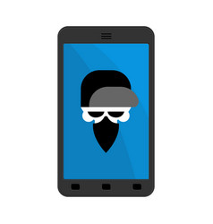 virus in smartphone skull hacker head of vector image