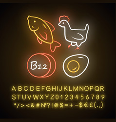 Vitamin b12 neon light icon fish poultry and egg vector