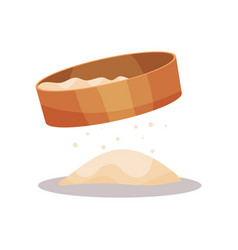 Wooden flour sifter baking ingredient vector
