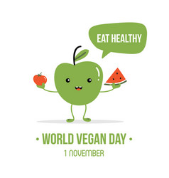 World vegan day cartoon vector