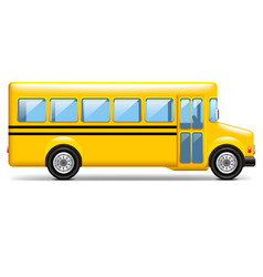 Yellow school bus profile isolated on white vector