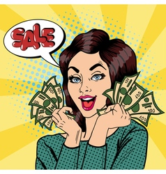 Young Businesswoman Holding Cash Sale Banner vector image