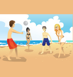young people playing volleyball vector image