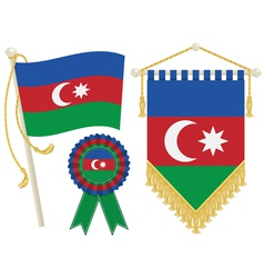 azerbaijan flags vector image