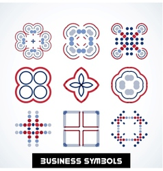 Business geometric shape symbols Icon set vector image