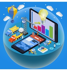 Flat 3d isometric mobile design vector image vector image