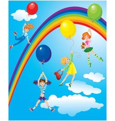 girls flying away on balloons on sky with rainbow vector image