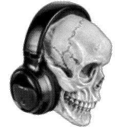 skull in headphones halftone vector image