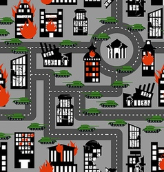 Tanks in seamless pattern Background of vector image
