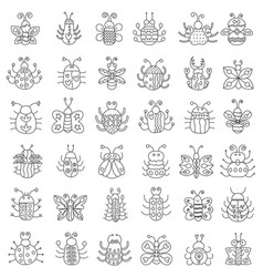 thin line insects icons set outline butterfly vector image vector image