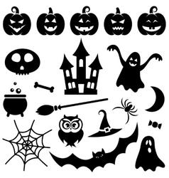 Black Halloween icons set vector image