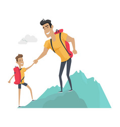 daddy and son go camping sport activities vector image vector image