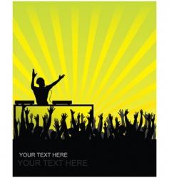 dj cheering audience vector image