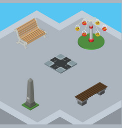 Isometric architecture set of bench intersection vector