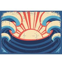Sea posterGrunge of sea landscape vector image vector image