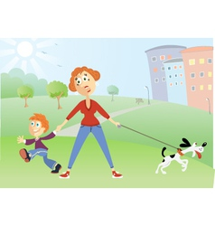 Mother with naughty boy and dog vector image vector image