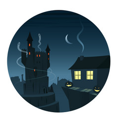 mysterious and spooky night scene round icon vector image vector image