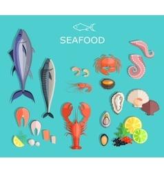 Seafood Set Design Flat Fish and Crab vector image
