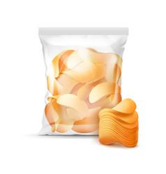 sealed bag for package design full of chips vector image