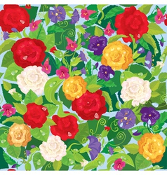 Seamless background with beautiful flowers - rose vector image