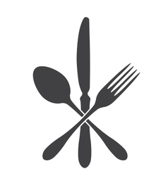 spoon knife and fork - cross vector image