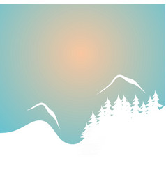 winter sunset vector image vector image