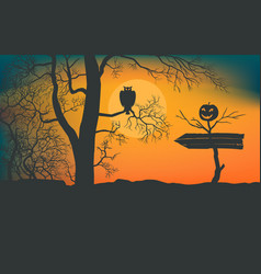 pointer to scary forest vector image