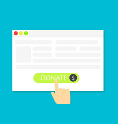 the browser window with the donate button vector image vector image