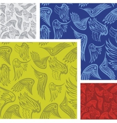 Wings - seamless pattern set vector image vector image