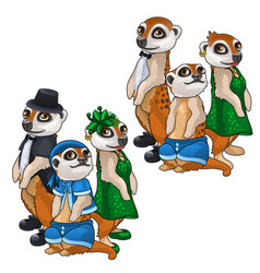 artistic family of meerkats in evening dress vector image