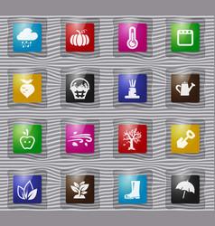 Autumn glass icons set vector