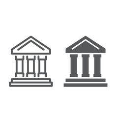 bank building line and glyph icon finance banking vector image