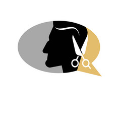 Barber shop man head and scissors icon vector