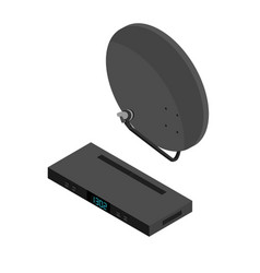 black satellite decoder reciever and antenna vector image