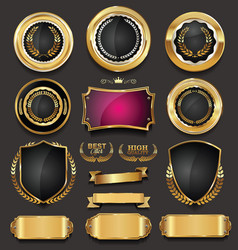 blank golden frame badge and label collection 3 vector image