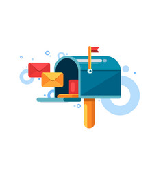 Blue mailbox with red flag and letters inside vector