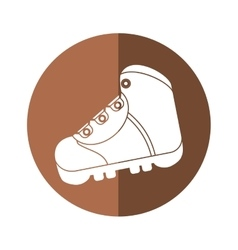 boot equipment adventure camping brown circle vector image