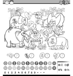 Calculating game coloring page vector
