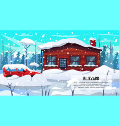 Car house building in forest covered snow blizzard vector