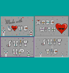 Cards with inscriptions made with love suit and vector