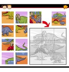 Cartoon dinosaurs jigsaw puzzle game vector