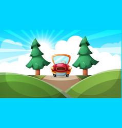 cartoon ladscape car road vector image