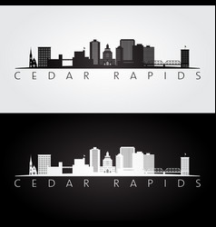 Cedar rapids iowa usa skyline and landmarks vector