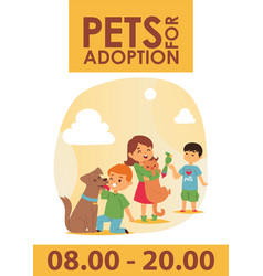 Children with pets adopt friendship poster vector