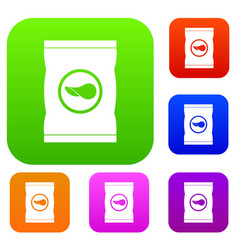 chips plastic bag set color collection vector image