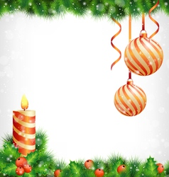 Christmas candle with holly pine and Christmas vector