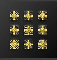 Christmas gift golden box new year present vector
